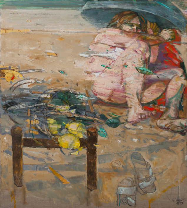 Vento sulla spiaggia - 1999 olio su tela cm.90x100