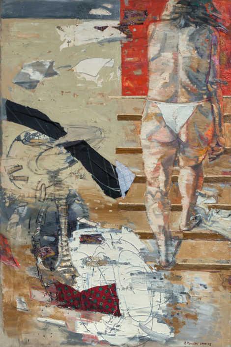 La scala e il vento 1 - 2000-2003 olio su tela e collage cm.100x150