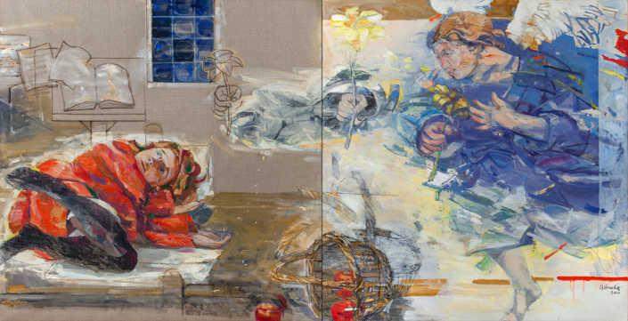 Annunciazione (dittico) - 2000 olio su tela cm.195x100