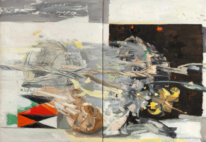 Doppia cesta con vento (dittico) - 2000 olio su tela cm.80x55