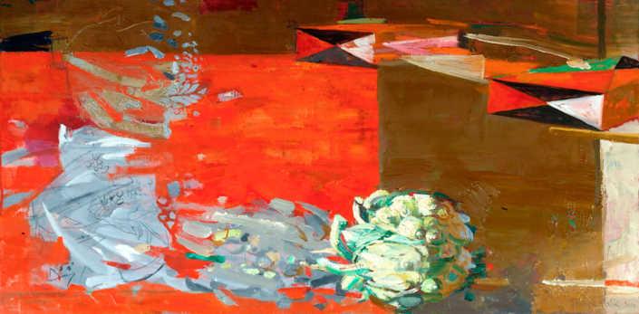 La caduta del cavolfiore - 2000 olio su tela cm.85x42