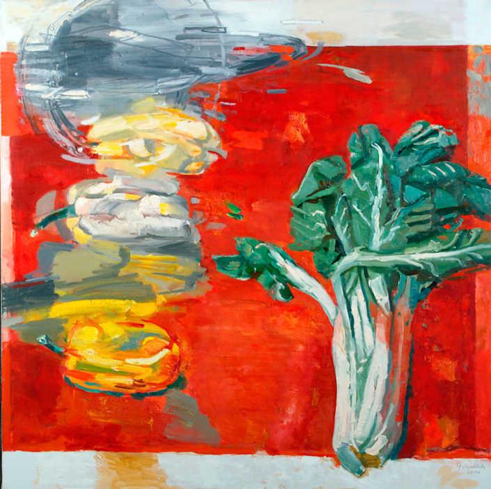 Natura morta su fondo rosso - 2000 olio su tela cm.80x80