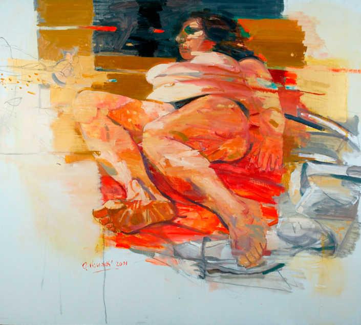 Il vento dorato - 2001 olio su tela cm.90x100