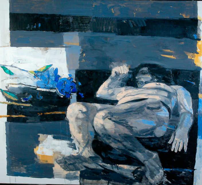 Interno in grigio - 2001 olio su tela cm.90x100