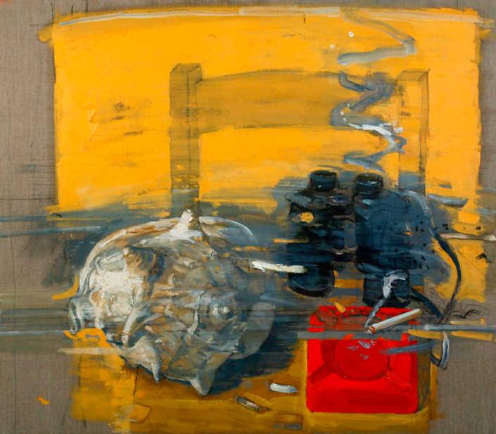 Natura morta con tritone su fondo giallo - 2001 olio su tela cm.80x70