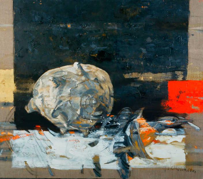 Natura morta con tritone su fondo nero - 2001 olio su tela cm.80x70