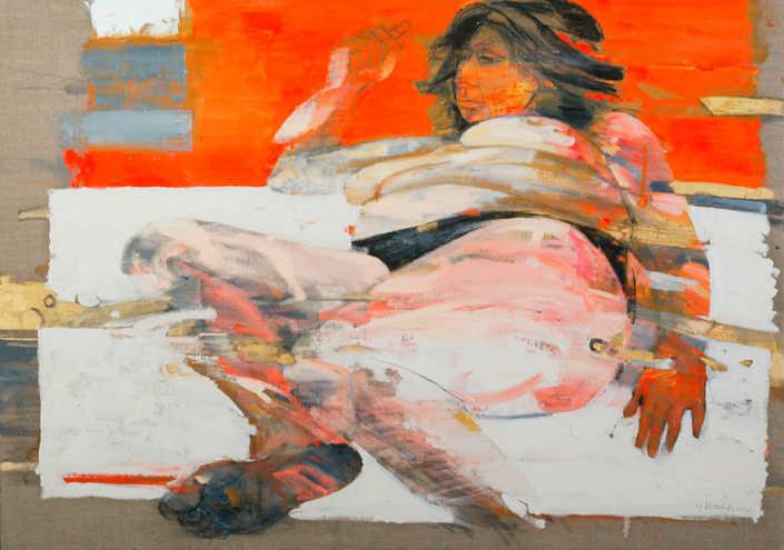 Nudo sul lenzuolo bianco - 2001 olio su tela cm.92x65