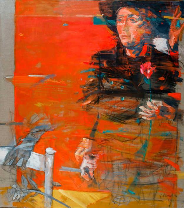 Un momento di Lina - 2001 olio su tela cm.90x100