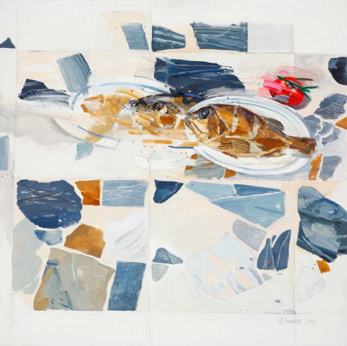 Geologia e natura morta - 2002 olio su tela cm.100x100