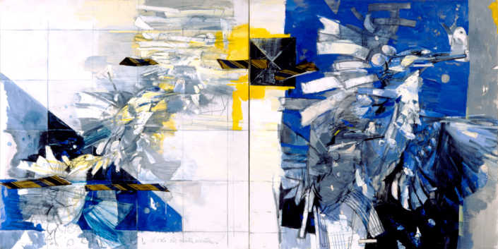 Il volo del martin pescatore (dittico) - 2002 olio su tela cm.200x100