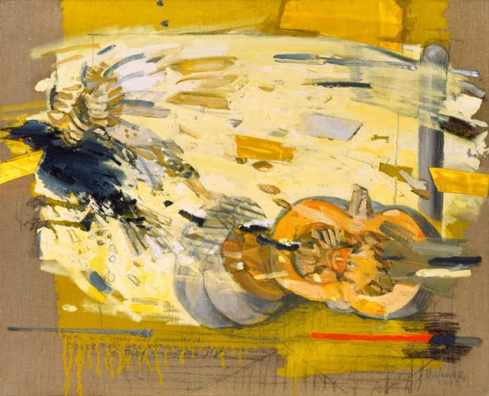 L'uccello e la zucca - 2003 olio su tela e collage cm.84x65