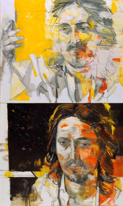 Testa di Cristo - 2003 olio su tela cm.60x100 (dittico)