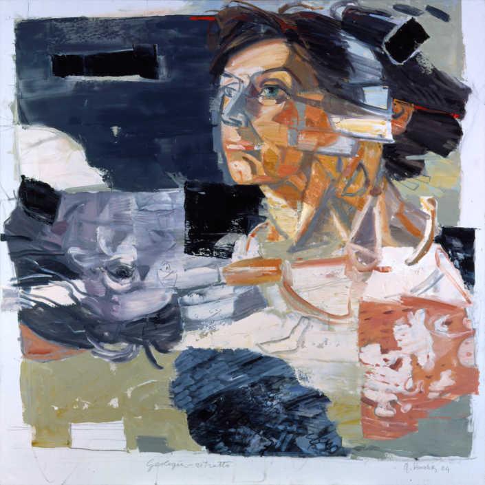 Geologia-ritratto - 2004 olio su tela cm.100x100