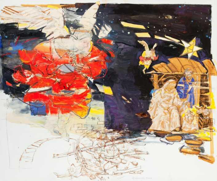 Da un presepe napoletano del '700 - 2004 olio su tela e collage cm.100x120