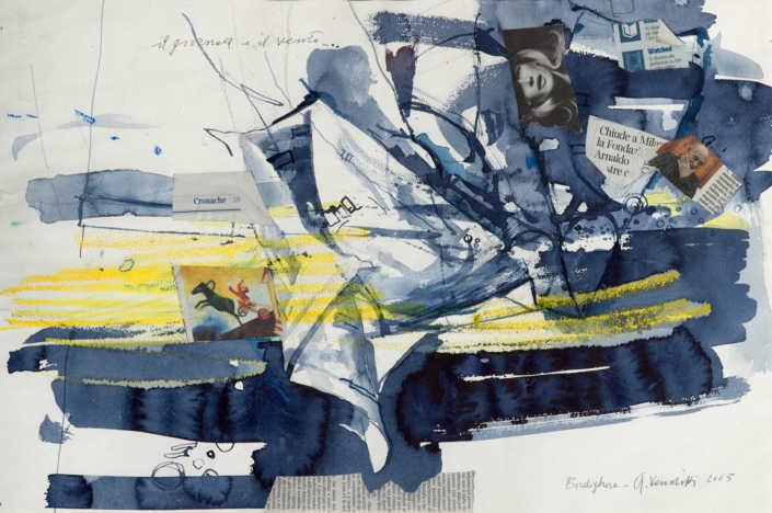 Il giornale e il vento - 2005 tecnica mista su carta cm.570x390