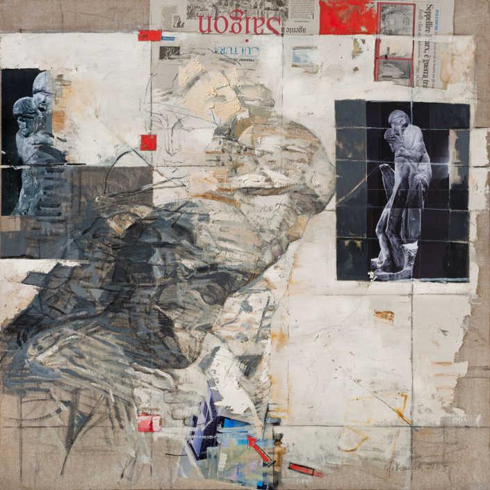 La pietà n°4 - 2005 olio su tela e collage cm.100x100