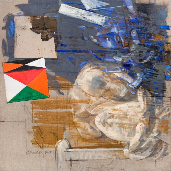 L'aurora e la metafisica - 2005 olio su tela e collage cm.80x80
