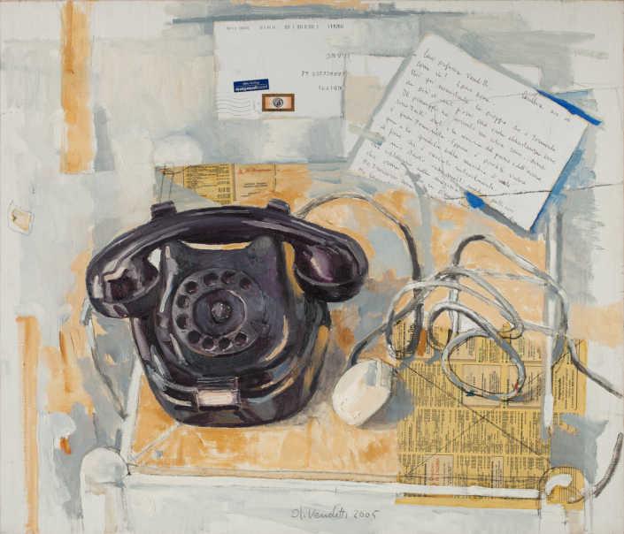 Il vecchio telefono - 2005 olio su tela e collage cm.70x60