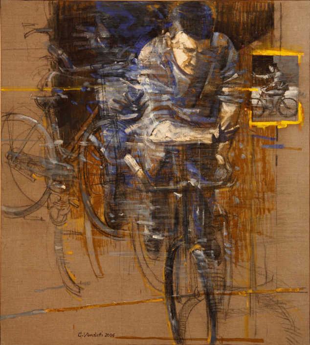 Il ciclista - 2006 olio su tela e collage cm.90x100