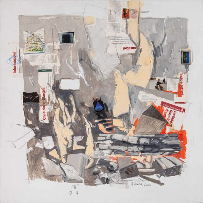 Incendio a Venezia - 2006 olio su tela e collage cm.80x80_80x80