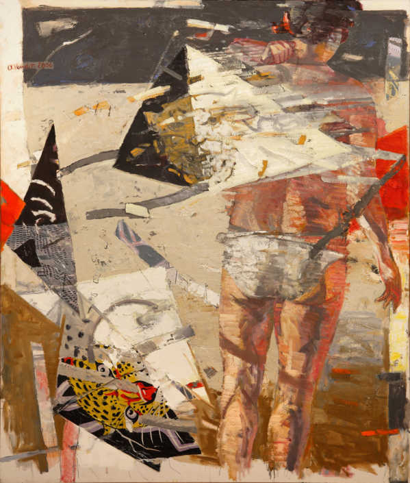 Nel vento - 2006 olio su tela e collage cm.100x120
