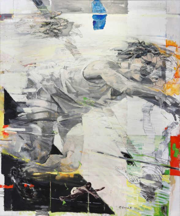 Salto con l'asta - 2006 olio su tela e collage cm.100x120