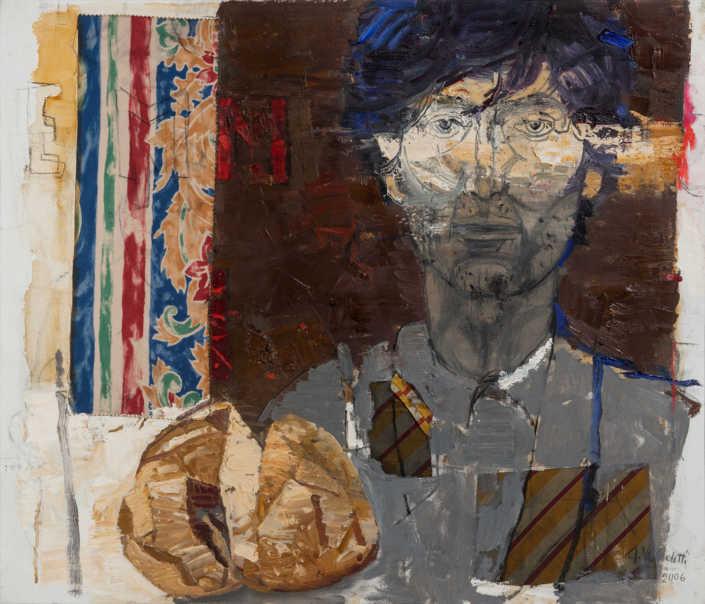 Lo stupopre del discepolo 2 - 2006 olio su tela e collage cm.70x60