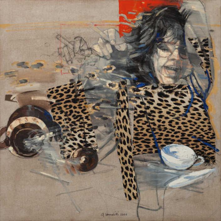 Un colpo di vento - 2006 olio su tela e collage cm.80x80