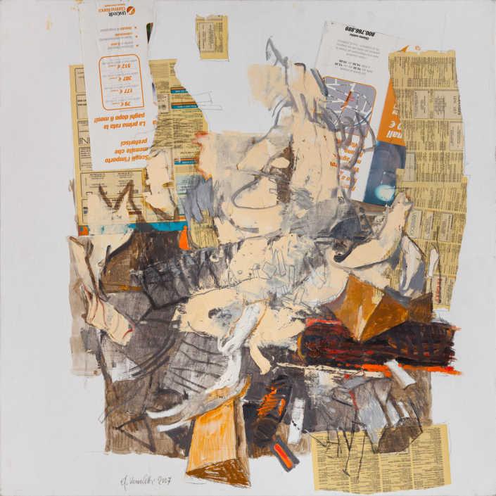 Dinamismo del fuoco - 2007 olio su tela e collage cm.80x80
