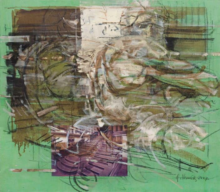 Il crepuscolo - 2007 olio su tela e collage cm.70x80