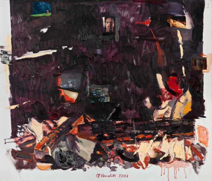 Incendio a Venezia - 2007 olio su tela e collage cm.70x60