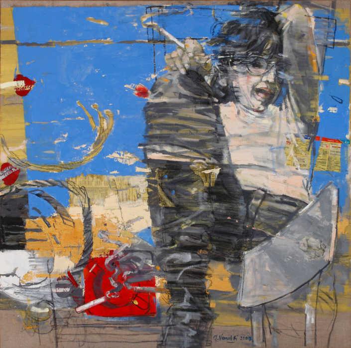 La fumatrice e il vento - 2007 olio su tela e collage cm.100x100