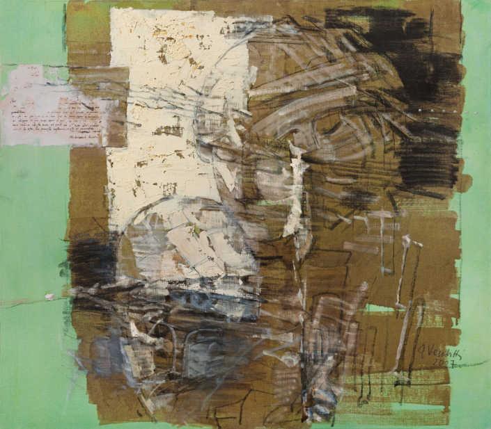 La pietà n°6 - 2007 olio su tela e collage cm.70x80