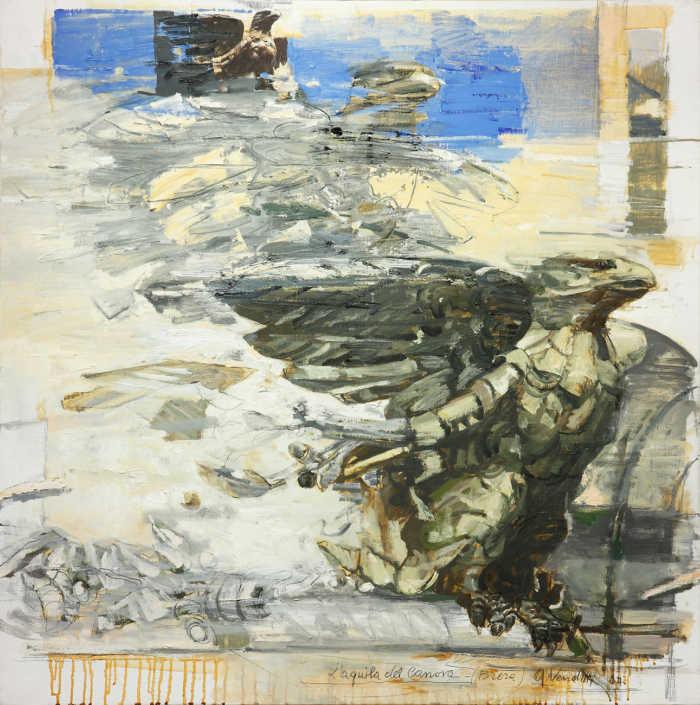 L'aquila del Canova - 2007 olio su tela e collage cm.80x80
