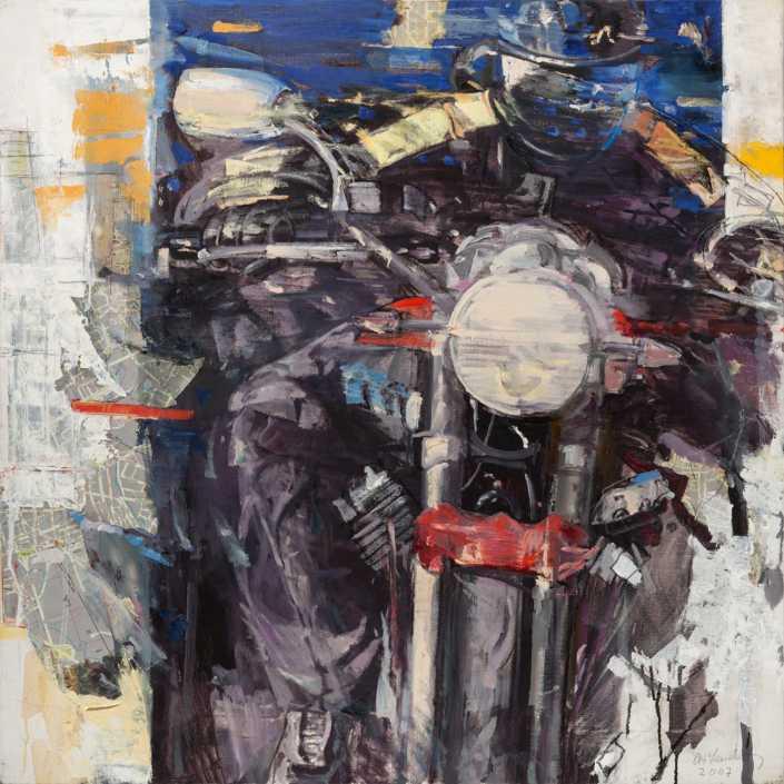 Centauro notturno - 2007 olio su tela e collage cm.80x80