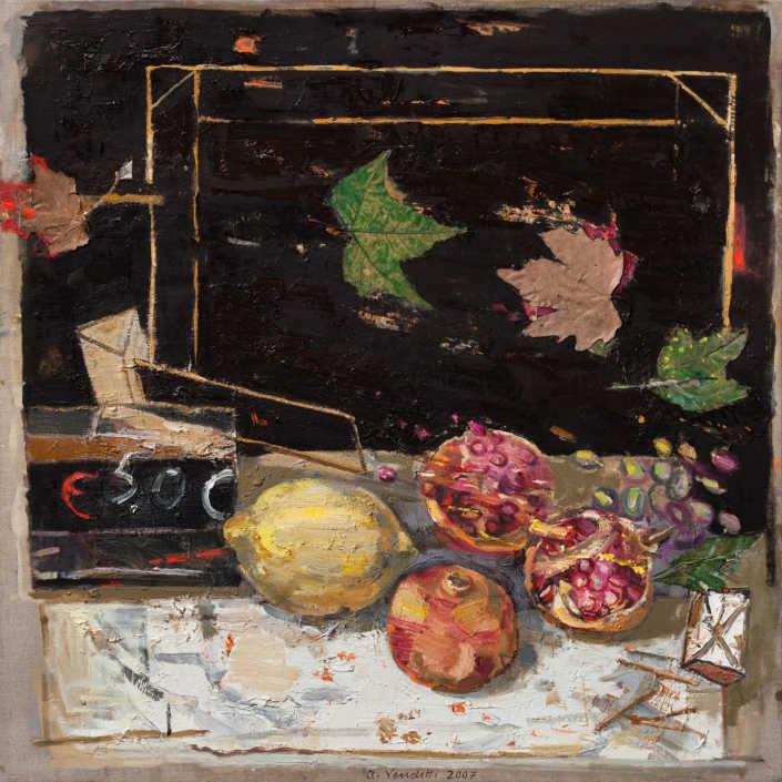 Frutta - 2007 olio su tela e collage cm.80x80
