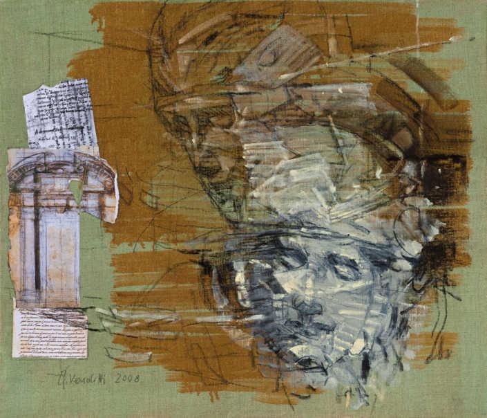La pietà n°7 - 2008 olio su tela e collage cm.70x60