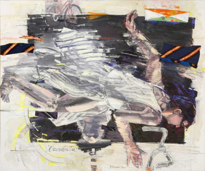 L'acrobata - 2008 olio su tela e collage cm.120x100