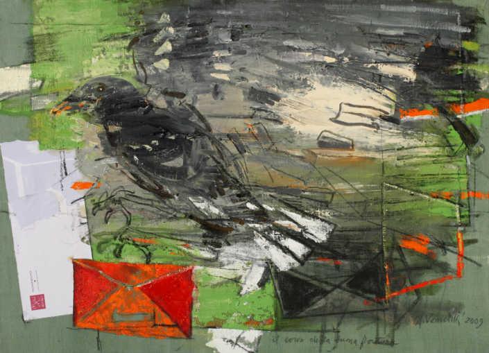 Il corvo della buona fortuna - 2009 olio su tela e collage cm.70x50