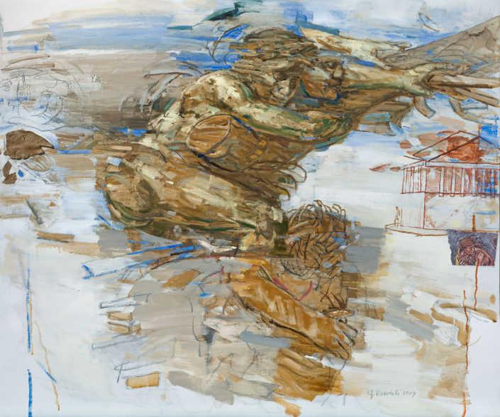 Il diluvio - 2009 olio su tela e collage cm.120x100