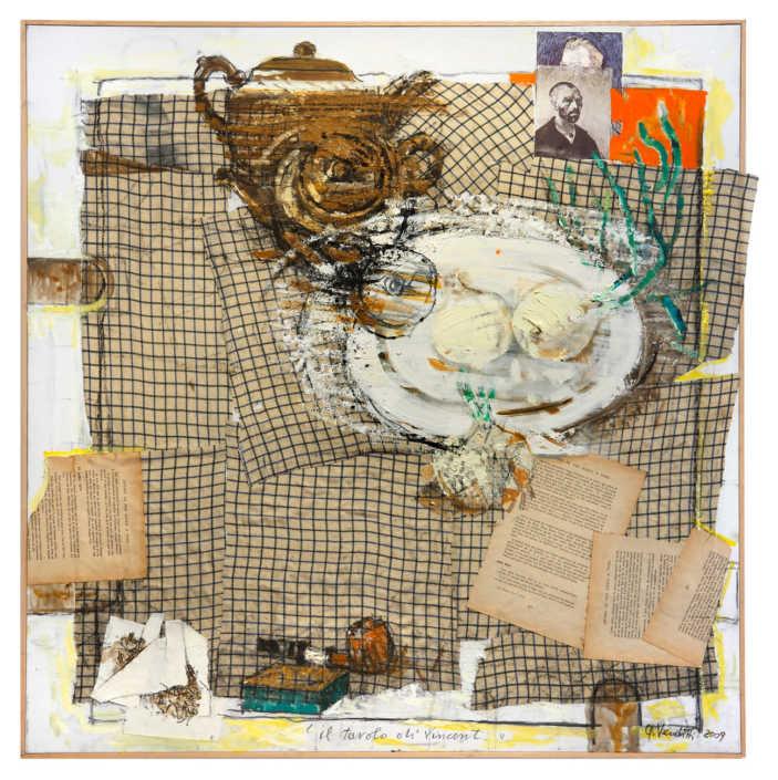 Il tavolo di Vincent - 2009 olio su tela e collage cm.80x80