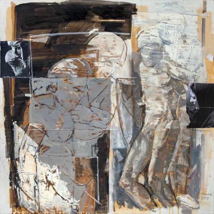 La pietà n°11 - 2009 olio su tela e collage cm.80x80