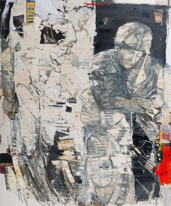 La pietà n°12 - 2009 olio su tela e collage cm.100x120