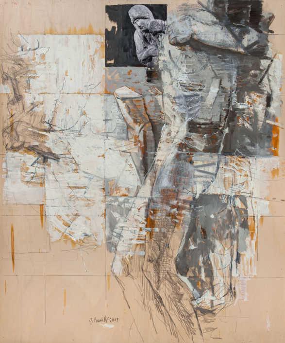 La pietà n°8 - 2009 olio su tavola e collage cm.100x120