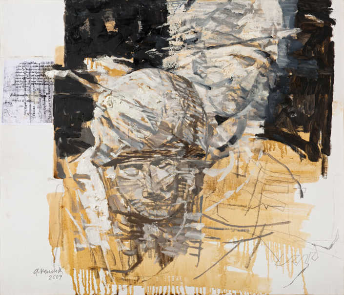 La pietà n°9 - 2009 olio su tela e collage cm.70x60