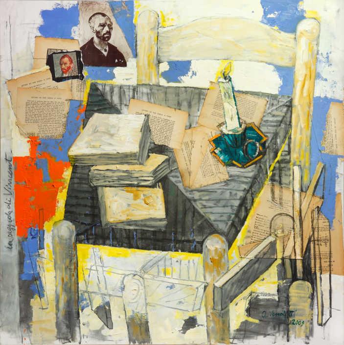 La seggiola di Vincent - 2009 olio su tela e collage cm.80x80