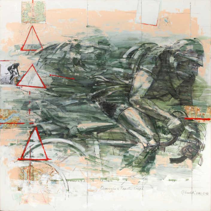 Omaggio a Fausto Coppi - 2010/2012 olio su tela e collage cm.100x100