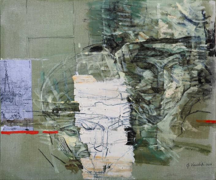 Dalla pietà Rondanini - 2010 olio su tela e collage cm.50x60