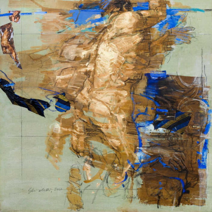 Gli eletti n°2 - 2010 olio su tela e collage cm.100x100
