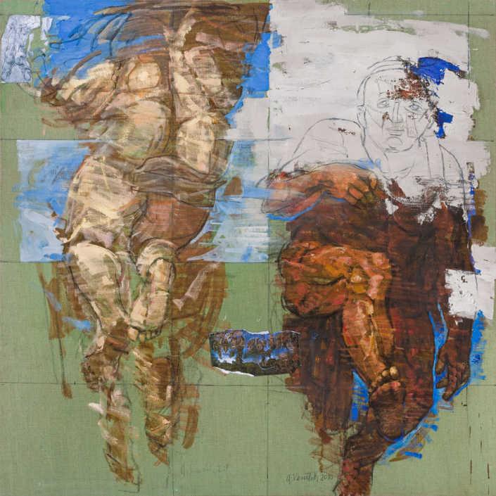Gli eletti n°3 - 2010 olio su tela e collage cm.100x100
